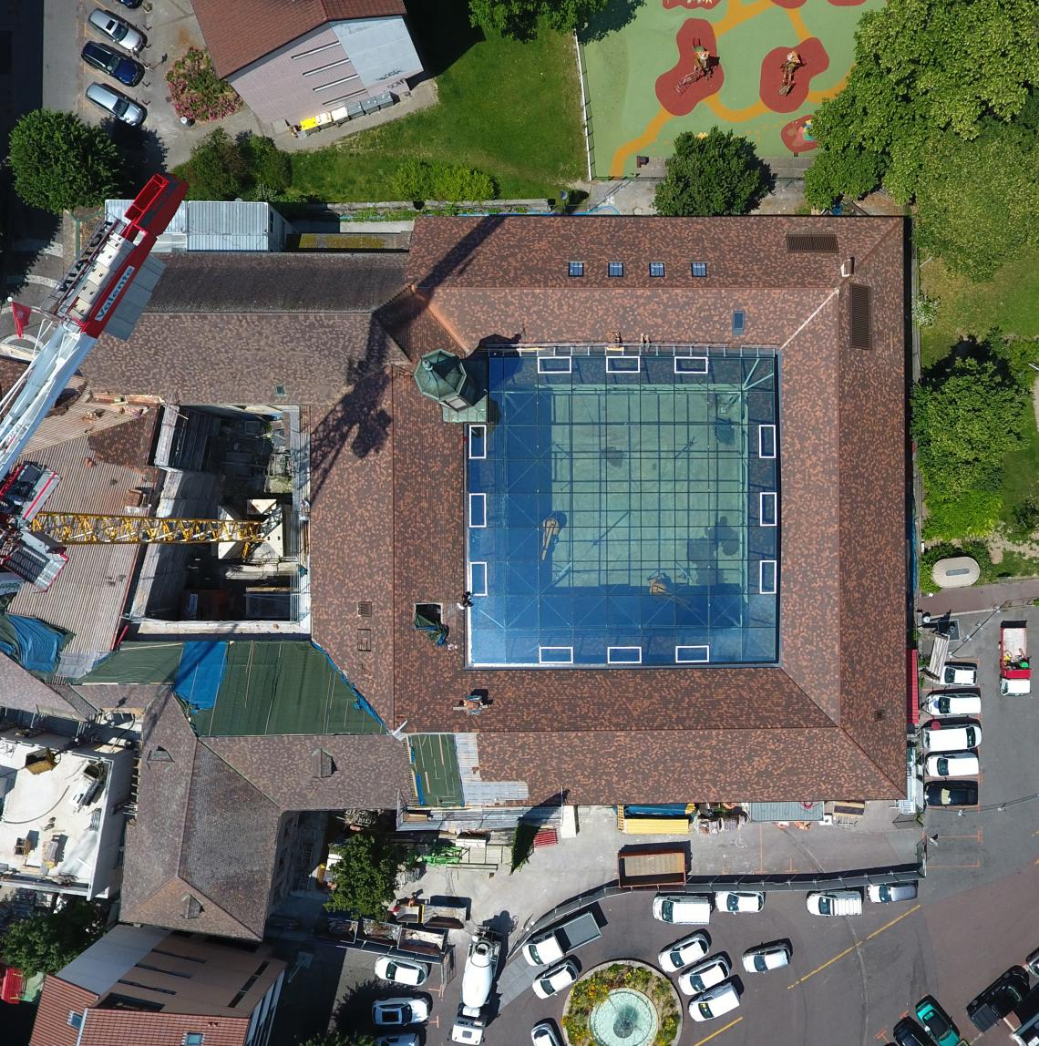 Glass roof in Thonon-les-Bains, drone view of cultural centre