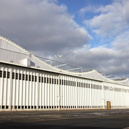 Monumental doors of hangar H2 at Paris Charles-de-Gaulle Airport